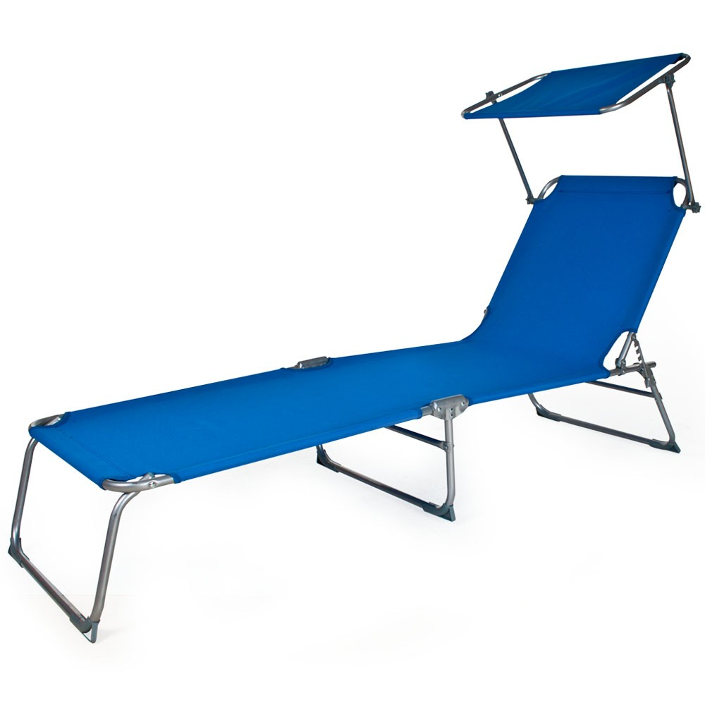 Tumbona plegable con toldo color azul jard n y playa for Tumbona plegable playa