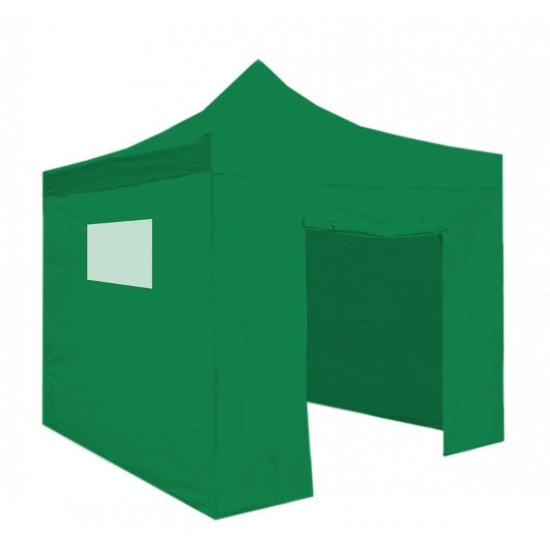 Carpa plegable 3x3 resistente al agua Eco. Color Verde. 4 laterales + Accesorios