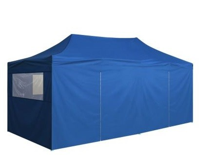Carpa plegable con laterales 3x6 m.Resistente al agua.Color Azul